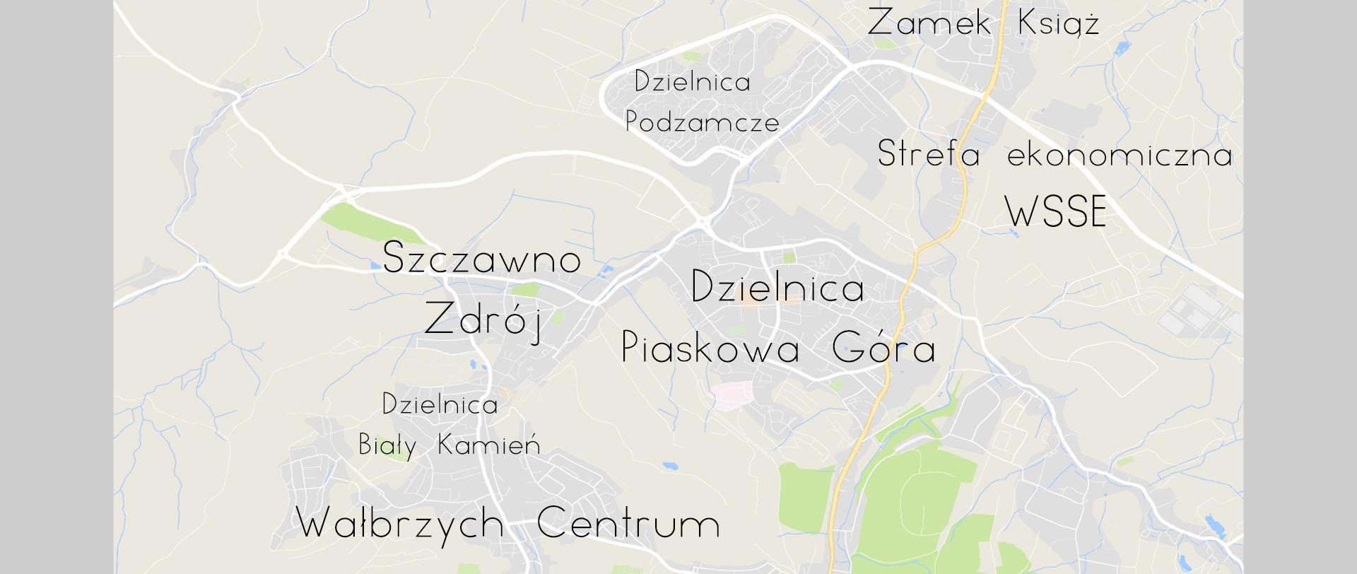 Mapka Wałbrzycha z dzielnicami