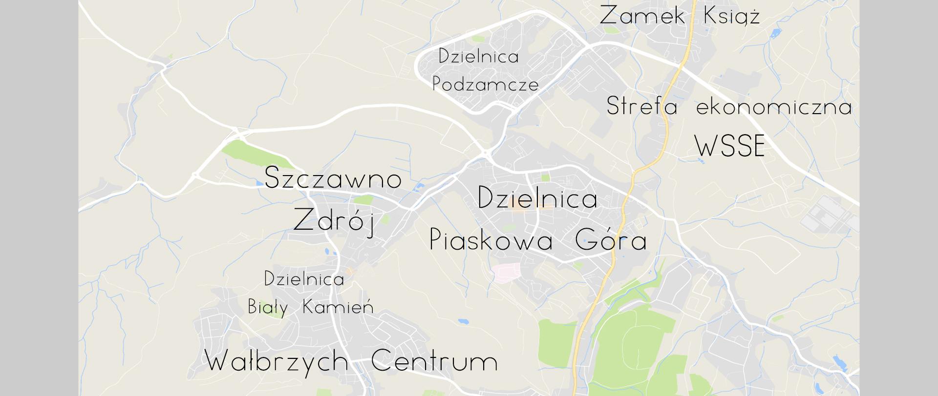Dzielnice Wałbrzycha na planie